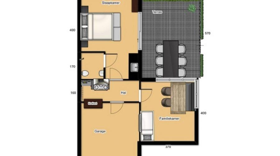 Plattegrond appartement B&B Kaatsheuvel
